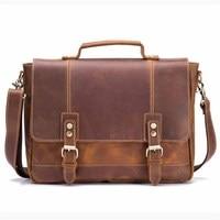 Vintage Men's Briefcase Bags Genuine Leather Business Male Handbags Messenger Shoulder Cross Body For Man Travel Laptop Tote Bag