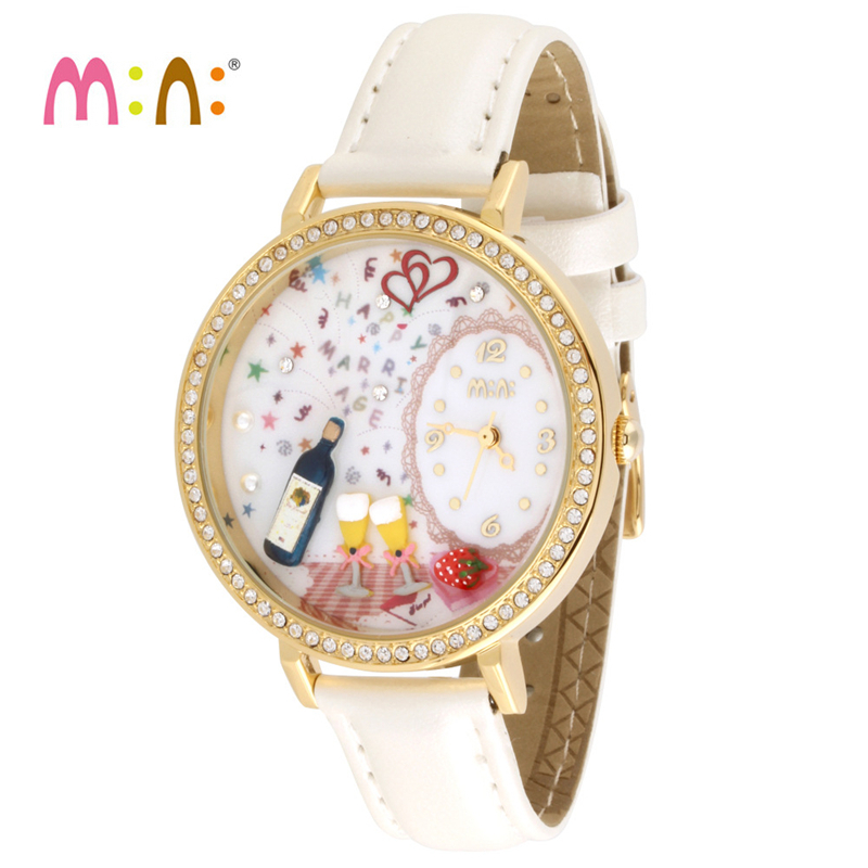 Reloj Mujer M:N: Women Watches Waterproof Ladies Gold Handmade 3D Wine Quartz Wrist Watch Fashion Girl Clock Relogio Feminino sinobi rose gold luxury wrist watch clock women reloj mujer ladies quartz watch women waterproof relogio feminino 2017 with date
