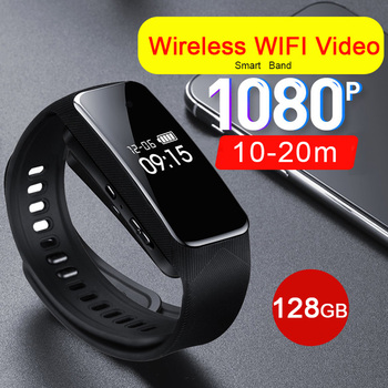 HD 1080P Wireless WIFI Hotspot Remote Monitoring Phone APP OLED Camera Voice Video Recording Smart Wristband Band Bracelet