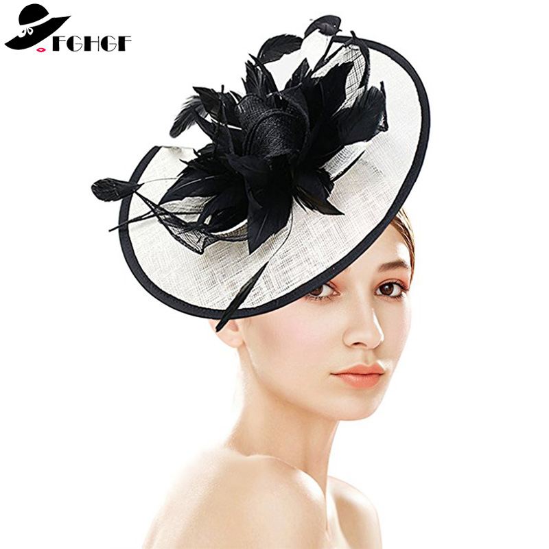 FGHGF Women White Black Sinamay Fascinators Headband Ladies Feather Floral Veil Derby Wedding Hats Cocktail Race Party Headpiece chifres malevola png