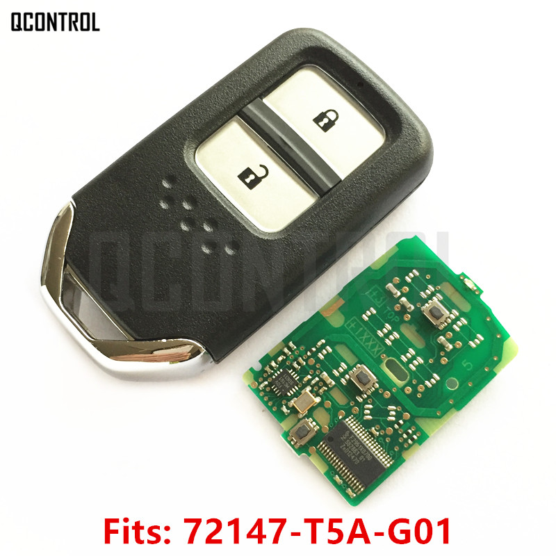 QCONTROL Smart Key 2 Buttons for Honda 72147-T5A-G01 Fit City Jazz XRV Venzel HRV Element CRV Car Vehicle Remote Control t5a250v t5a