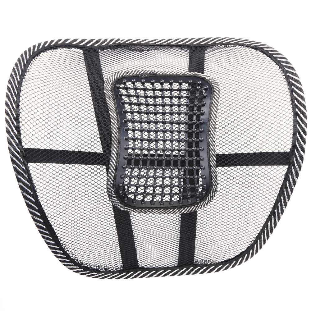 2Pcs Office Chair Lumbar Back Support Car Styling Seat Cool Wire Mesh Massage Net Cushion Waist Brace Pad Auto Accessories Black