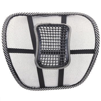 2Pcs Office Chair Lumbar Back Support Car Styling Seat Cool Wire Mesh Massage Net Cushion Waist Brace Pad Auto Accessories Black image