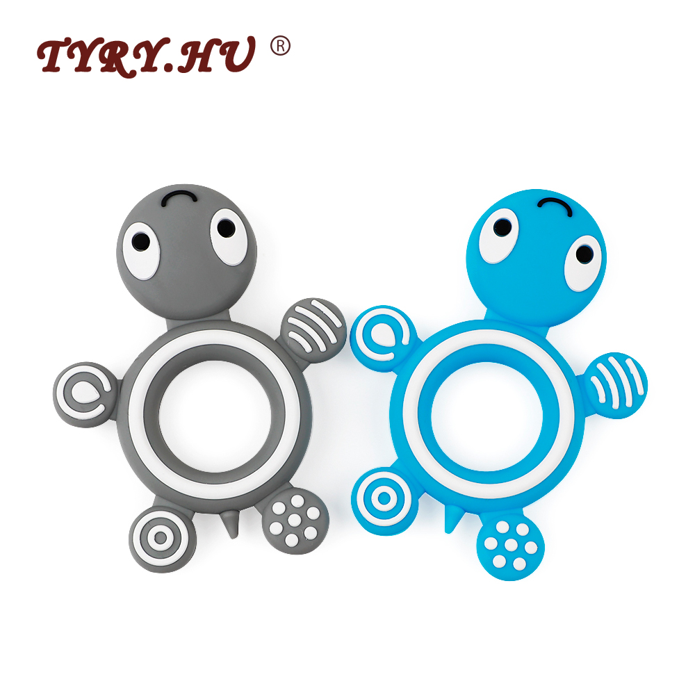 TYRY.HU 1pc Cartoon Tortoise Silicone Teething Toys Rodents Food Grade Baby Teether Baby Chew For Mother DIY Pacifier Chain Tool