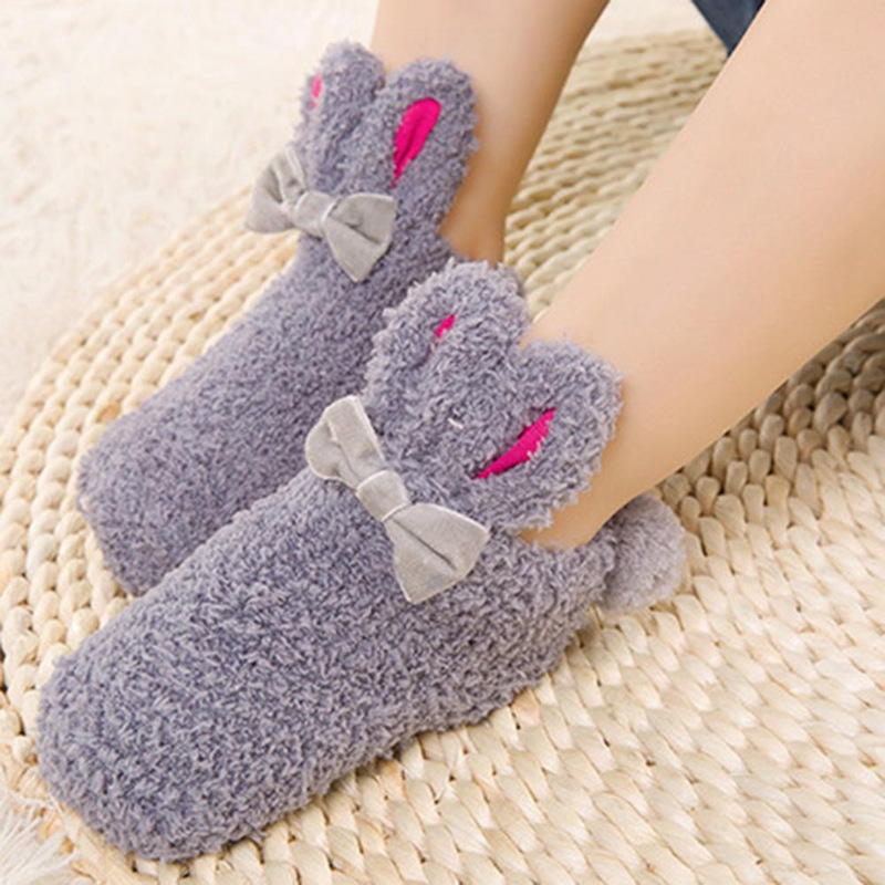 Baby Super Cute Rabbit Winter Coral Fleece Girls Boys Socks Newborn Infant Soft Warm Floor Thicken Socks For 0-3 Years Old