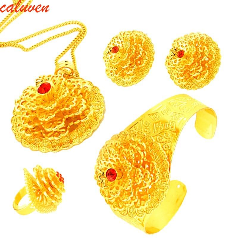 Etiopijos papuošalų rinkiniai auksinės spalvos papuošalai iš Afrikos / Habesha / Eritrėjos / ArabųJuvelyriniai dirbiniai auskarams / karoliai / Bangle / žiedas moterims
