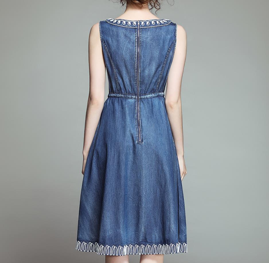 Été Cordon Nouveau ligne 2019 Brodé Blue Vintage A Folk Robe Pour Gilet Femmes Denim m8vNwOnPy0
