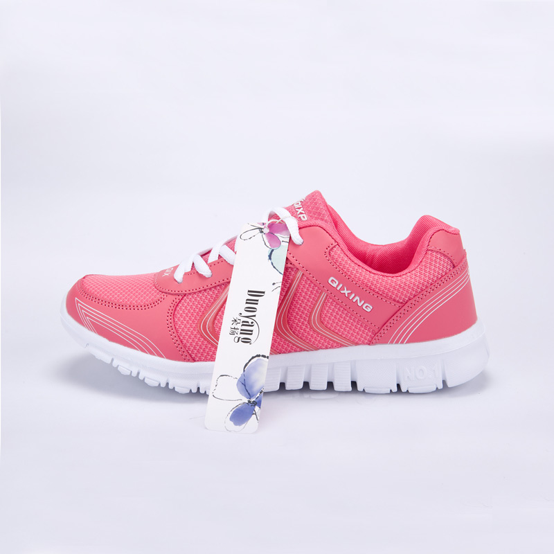Foto from the right Women's breathable light sneakers for tennis. Women's breathable light shoes for basketball pink color