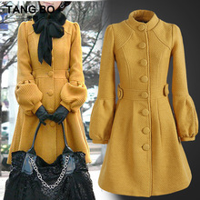 2016 Autumn and Winter Fashion Thick Women's Wool Outwear Single Breasted Medium-long Woolen Overcoat Stand Collar Female Coats