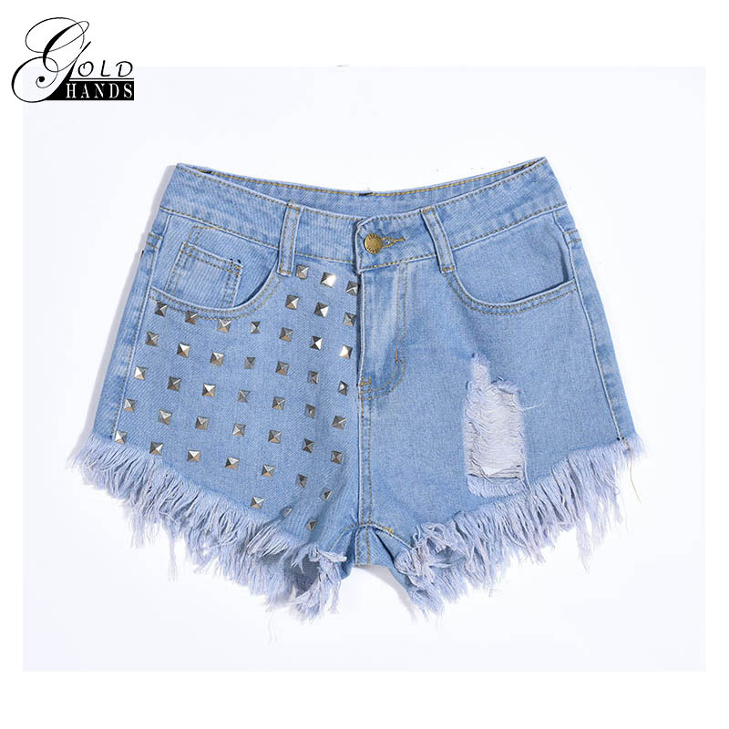 Gold Hands Female Raven Shorts High Waist Ladies Denim Shorts Wash Old Punk Street Denim Cotton Black Shorts Women Tight Short