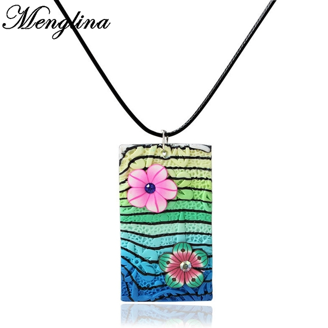 Menglina fashion colorful flower fimo polymer clay pendant necklace menglina fashion colorful flower fimo polymer clay pendant necklace for women jewelry lovely necklaces pendants aloadofball Images