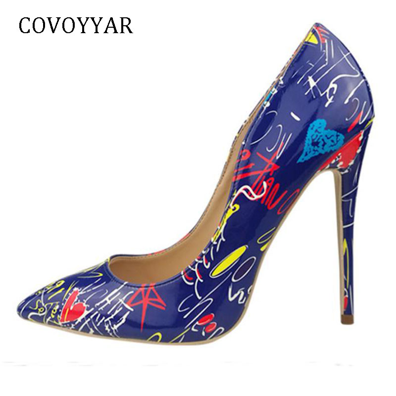 COVOYYAR 2019 Fancy Print Women Pumps Fashion Pointed Toe Lady Stiletto Thin High Heels Party Shoes Big Sizes 35-42 WHH665