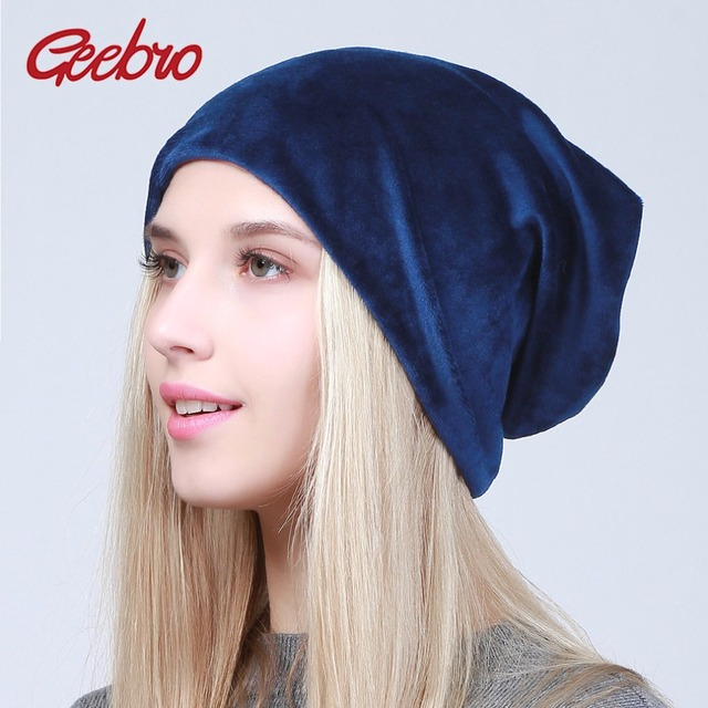 842be1f36eb Geebro Spring Women s Plain Velour Beanies Hat Casual Warm Polyester  Slouchy Beanie Hats For Women bonnet