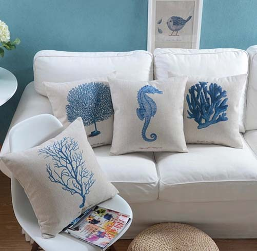 Coral Sofa Pillow: Sea Horse Coral Cushion Covers Blue Series Pillow Cases