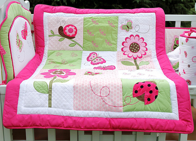 4 pcs cotton girl baby bedding set 3d embroidery pink butterfly flower ladybird quilt bumper cushion - Baby Bedding For Girls
