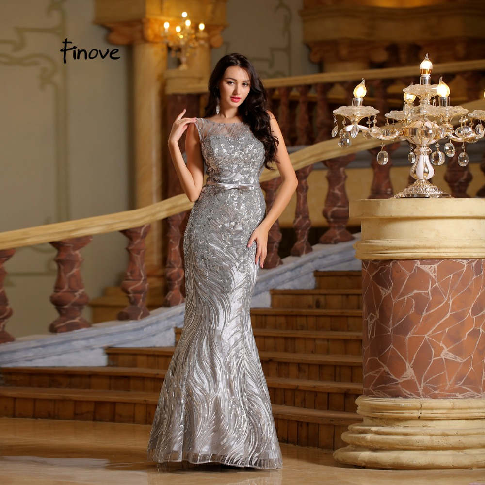 Finove Sliver Long Dress Stunning 2018 New Arrivals Elegant Scoop - Հատուկ առիթի զգեստներ - Լուսանկար 2