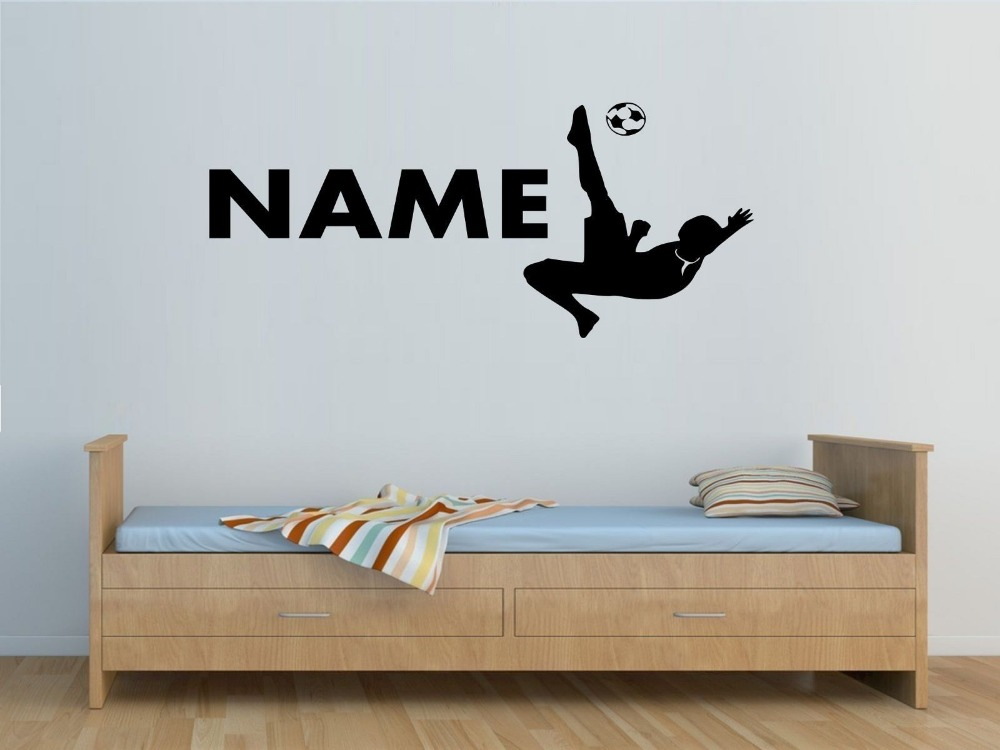 Personalised Name Football Player Silhouette Overhead Overhead Kick Wall Stickers Boys