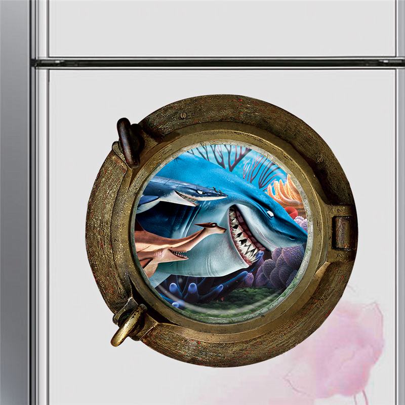 3d Smiling Big Shark Nemo Dory Submarine Portholes Windows Wall Stickers For Washing Machine Decoration Diy Wall Decals Art in Wall Stickers from Home Garden