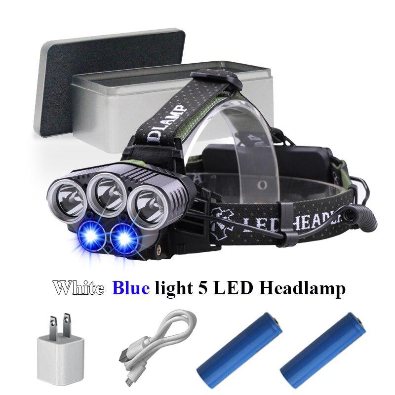 Azul de la luz blanca de la luz de la pesca recargable 5 led faro LED USB faro CREE XML T6 XPE Q5 cabeza de la linterna antorcha la lámpara de la cabeza
