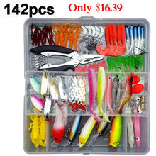 33/56/104/106/109/122/142/166/280pcs Fishing Lures Set Spoon Hooks Minnow Pilers Hard Lure Kit In Box Fishing Gear Accessories(China)