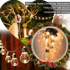 Image 5 - LED Outdoor Solar Lamp 9M 50 LED Clear Globe Bulbs Solar Led String Fairy Light Outdoor Solar Globe Patio Party Wedding Garland