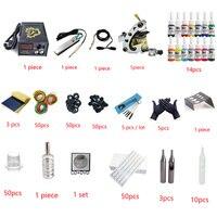 Профессиональный 1 компл. татуировки комплект мини Gun Ротари машины оборудование комплекты + Ink + Питание + иглы + CD для начинающих Для тела Кни...