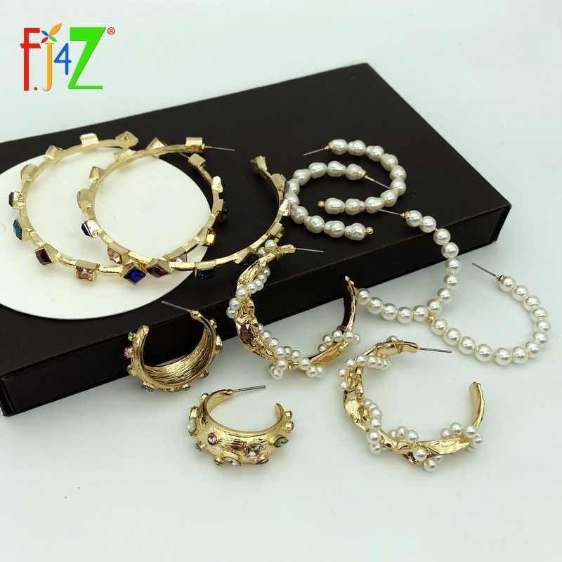 F.J4Z New Women Hoop Earrings Fashion Designer Imitation Stone & Pearl Big Earrings Za Ear Hoop Earrings Wholesale