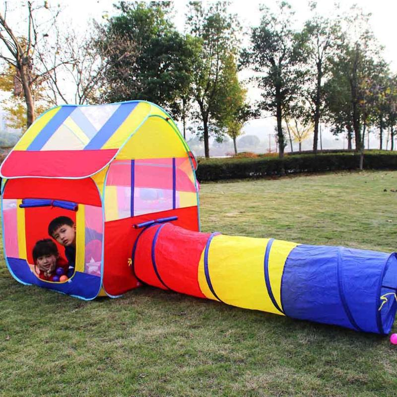 Portable Kids Tunnel Tents Three Color Indoor Kids Play House Tent Folding Outdoor Tube Crawling Game To The Tent Toy Tunnel outdoor puzzle folding mongolia bag game house tents