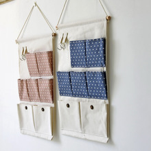 Zakka Style New 7 Pockets Hanging Dyadic Storage Bag Wall Hanging Hook Bag Multilayer Groceries Organizers Free Shipping