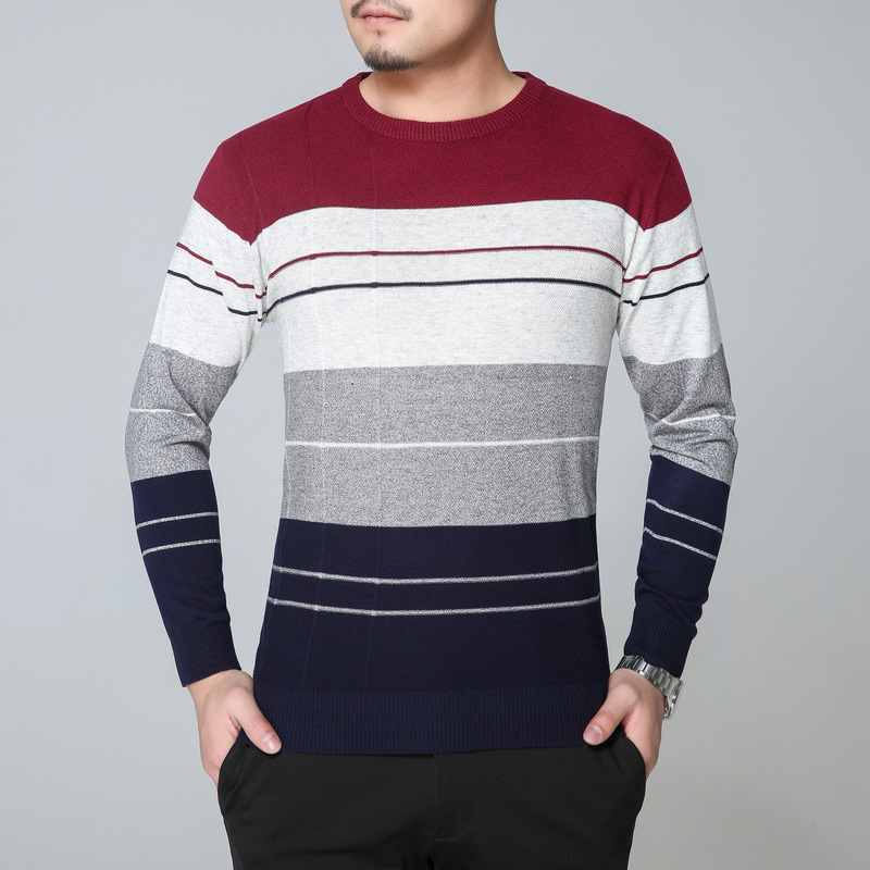 New Spring Autumn Fashion Brand Casual Sweater O-Neck Striped Slim Fit Knitting Mens Sweaters And Pullovers Men Pullover M-3XL