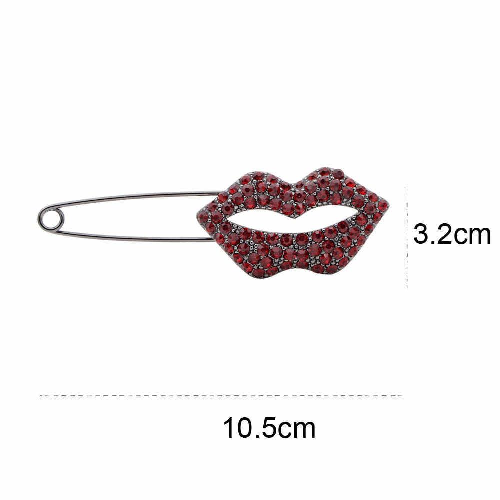 Cindy Xiang Rhinestone Besar Bibir Pin Bros untuk Wanita Elegan Fashion Keren Mulut Bros Pesta Perhiasan Mantel Aksesoris Hadiah