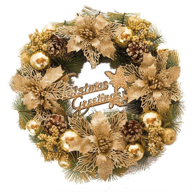 christmas garland decoration golden door show window christmas wreath christmas decorations for home without string lights