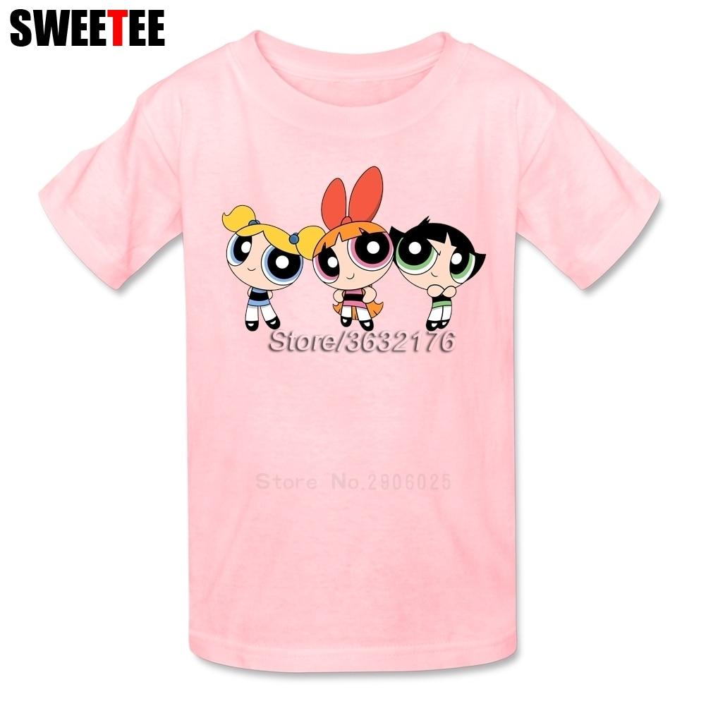 The Powerpuff Girls childrens T Shirt Cotton Short Sleeve Crew Neck Tshirt Tees Boys Girls 2018 Lovable T-shirt For Baby