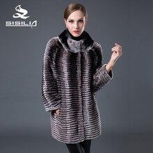 SISILIA 2016 New 100% Real Rex Rabbit Fur Coats Women Winter Warm Genuine Fur Jackets Nature Mink Coat For Female