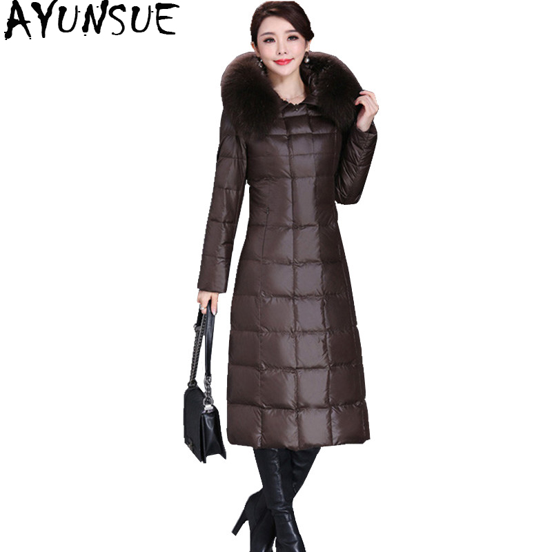 AYUNSUE Women's   Down   Jacket Long Thickening   Down     Coat   With Real Fur Hood 2018 Winter Jackets Large Size 5XL Mom Clothing 1508#