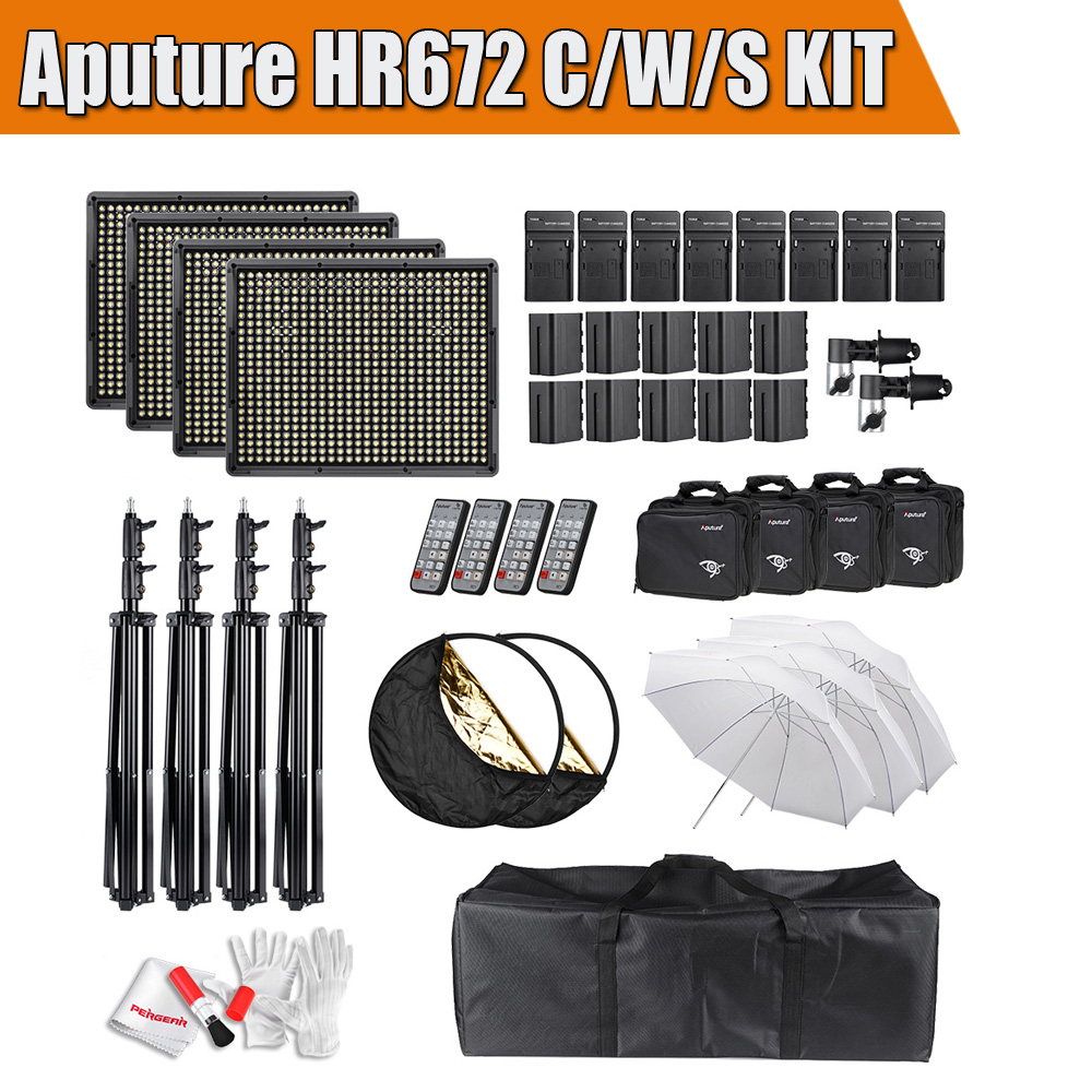 Aputure HR672 Series Kit HR672S + HR672C + HR672W Dimmeable Led Video Light  Panel  CRI 95+ w/ Accessories Kit
