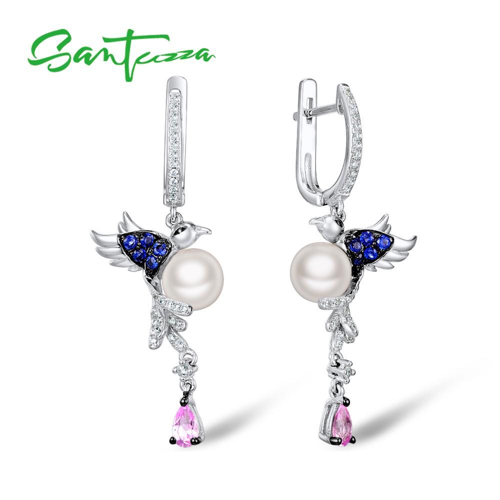 SANTUZZA Silver Earrings For Women 925 Sterling Silver Bird Pearl Earrings Long Silver 925 Cubic Zirconia Fashion Jewelry стоимость