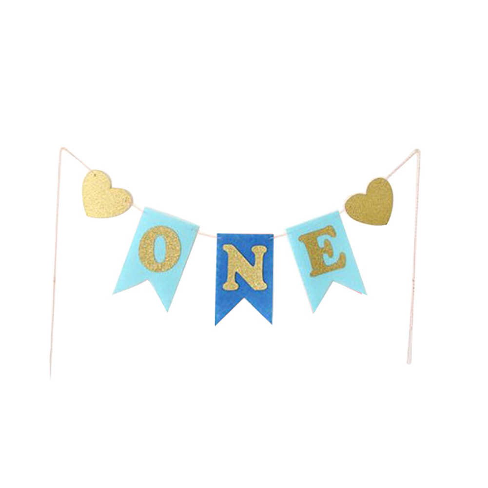 Glitter ONE Heart - shaped Baby Shower Banner Boy Birthday Party Banner แบนเนอร์ Highchair Bunting Party Decor