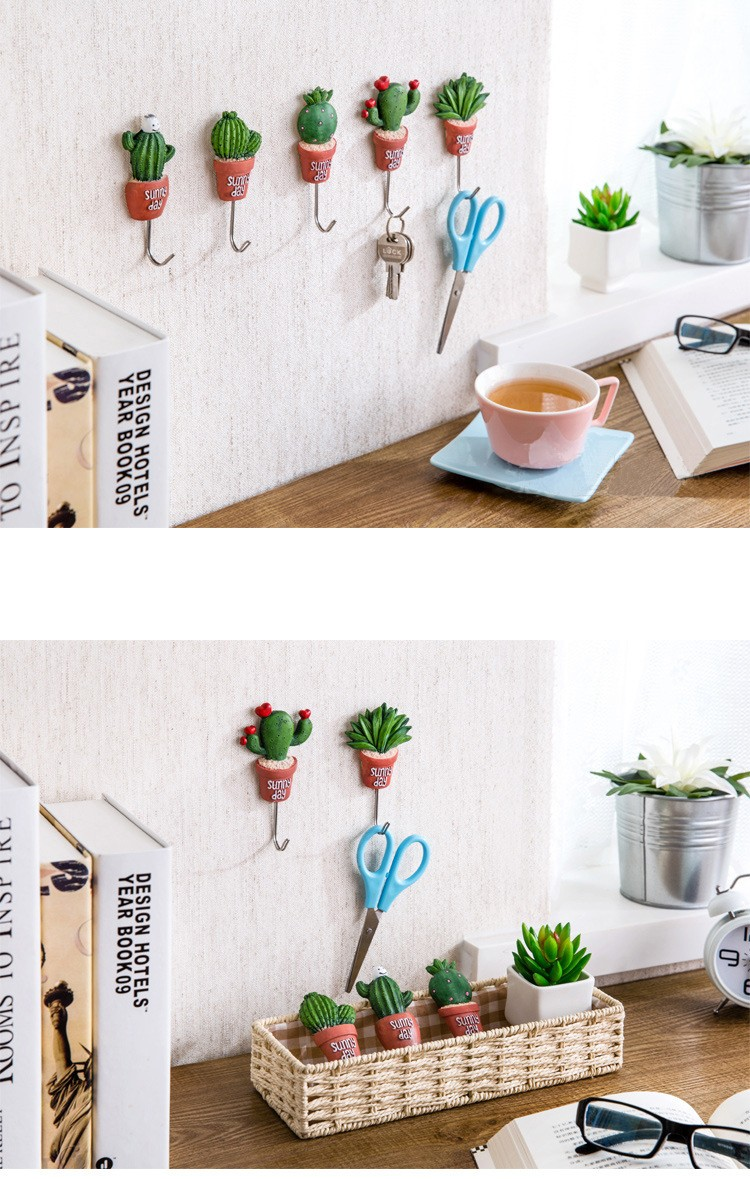 New Plant Shape Resin Stainless Steel Hook Kawaii Cactus Kitchen ...
