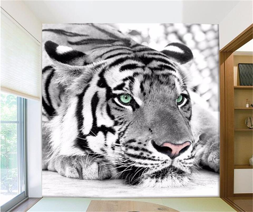 3d photo wallpaper tiger black and white animal murals entrance bed room living room sofa TV background wall 3d mural wall paper