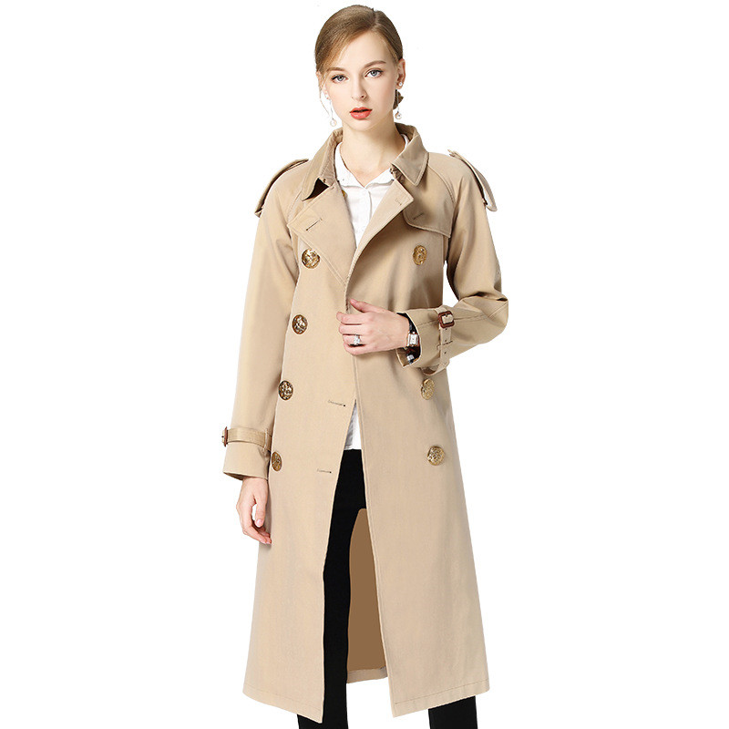 High quality   Trench   Coat Women Spring Autumn Belt Double-breasted Windbreaker Female Lengthen Coat New Fashion Khaki   Trench   2373