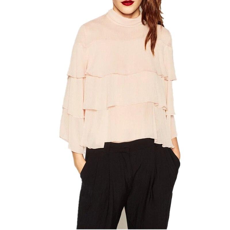 Nueva Europa Volantes Camisa de La Blusa de Color de Señora Chiffon Boho Bluse M