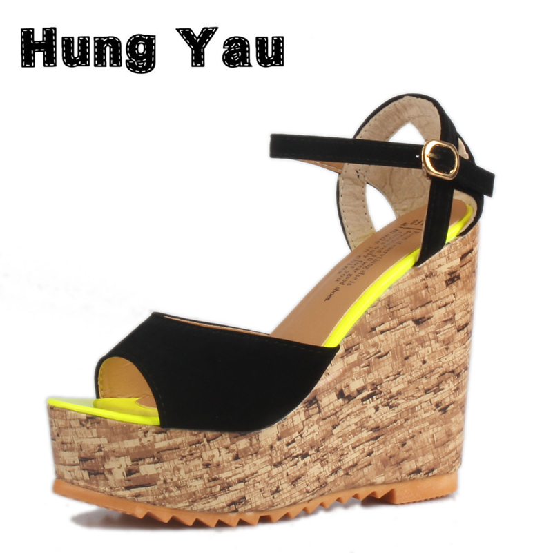 Hung Yau Summer Style Women Wedge Sandals Fashion Open Toe Platform High Heels Women Gladiator Sandals Ladies Casual Shoes Size8