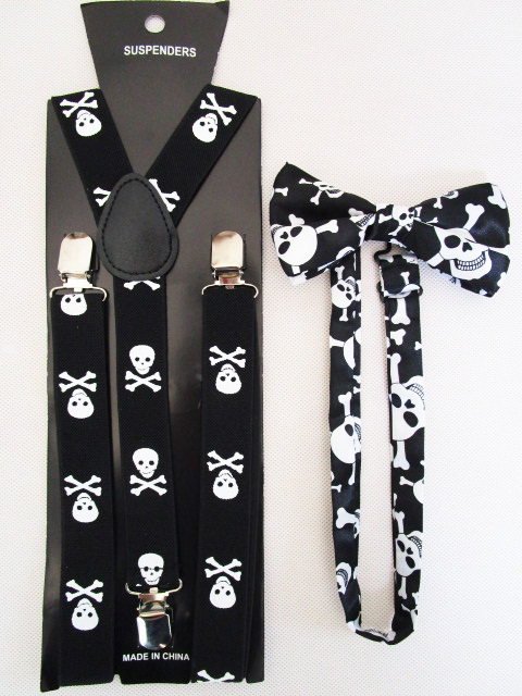 Free Shipping 2018 New Fashion Women Skull Braces Bow Ties And Suspenders Sets For Mens