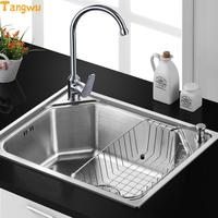 NEW Single Slot Kitchen Sink Sink Single Slot Package Of 304 Stainless Steel Wire Drawing Thickening