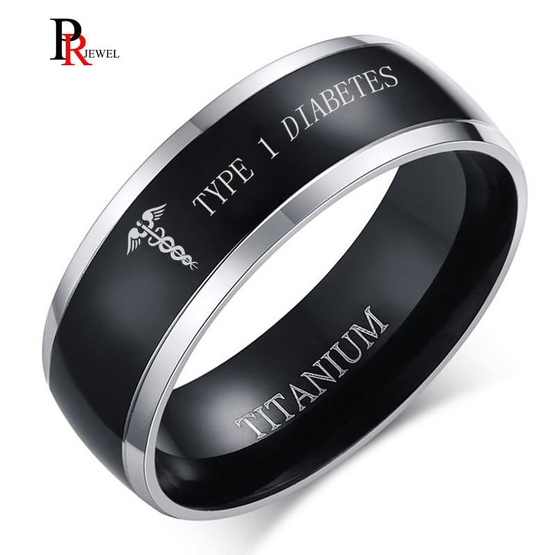 Engraved TYPE 1 Diabetes Disease Name Rings for Men 8MM Black Titanium Finger Ring Remind Medical Jewelry