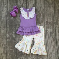 New Arrivals Baby Girls Summer Unicorn Outfits Lavender Ruffle With Capri Boutiques Cotton Clothes With Accessories