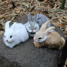 15CM Mini Realistic Cute White Plush Rabbits Fur Lifelike Animal Easter Bunny Simulation Rabbit Toy Rabbit Model Birthday Gift
