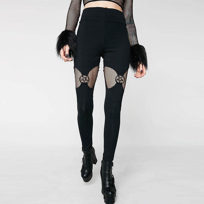JIEZuoFang Women Black Pentagram Legging Gothic Black Chic Cool Punk Style Thin Plain Hollow Patchwork Female Goth Pants Legging