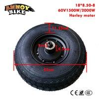 60V 1500W 2000W 18 Inch Hub Motor Harley Electric Scooter Motor Kit Fat Tire 18*8.50 8 Front wheel E bike Motor Wheel